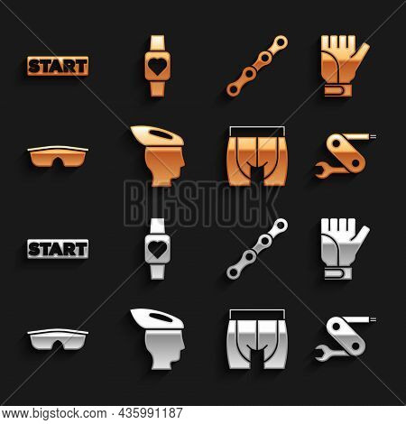 Set Bicycle Helmet, Gloves, Swiss Army Knife, Cycling Shorts, Sport Cycling Sunglasses, Chain, Ribbo