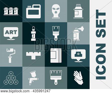 Set Rubber Gloves, Spray Can Nozzle Cap, Paint Spray, Balaclava, Marker Pen, Speech Bubble With Text