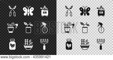 Set Gardening Handmade Scissors, Butterfly, Sprayer For Fertilizer, Fertilizer Bottle, Plant Pot, Ra
