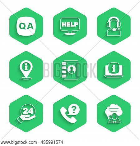 Set Address Book, Telephone 24 Hours Support, Speech Bubble Chat, Laptop With Information, Location,