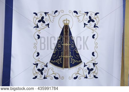 Minas Gerais - Brazil - October 12, 2021: Fabric Detail Embroidered With Image Of Our Lady Of Aparec