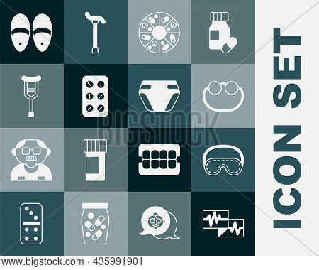 Set Monitor With Cardiogram, Eye Sleep Mask, Eyeglasses, Vitamin Pill, Pills Blister Pack, Crutch Cr