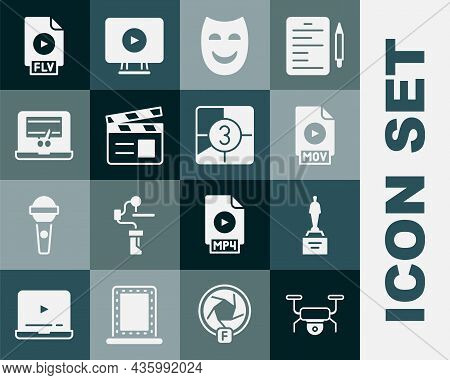 Set Drone Flying, Movie Trophy, Mov File Document, Comedy Theatrical Mask, Clapper, Video Recorder L