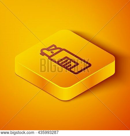 Isometric Line Weapons Oil Bottle Icon Isolated On Orange Background. Weapon Care. Yellow Square But