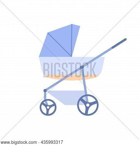 Flat Newborn Perambulator Blue Color Icon. Baby Care Accessory Design Isolated On White Background.