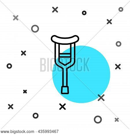 Black Line Crutch Or Crutches Icon Isolated On White Background. Equipment For Rehabilitation Of Peo