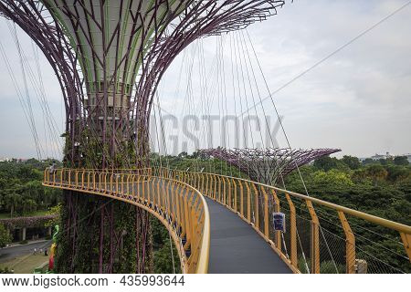 Singapore- Sep 9, 2021: Ocbc Skyway Aerial Walkway Between Supertree Grove Artificial Tree Construct