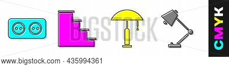 Set Electrical Outlet, Staircase, Table Lamp And Table Lamp Icon. Vector