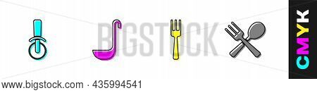 Set Pizza Knife, Kitchen Ladle, Fork And Crossed Fork And Spoon Icon. Vector