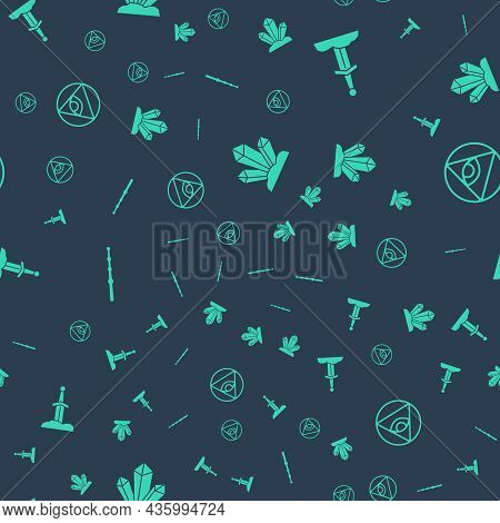 Set Magic Stone, Sword In The, Wand And Masons On Seamless Pattern. Vector