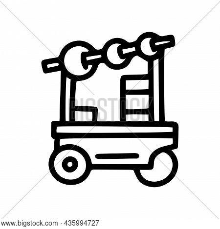 Kebab Trade Cart Line Vector Doodle Simple Icon