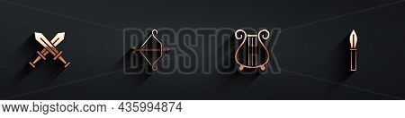 Set Crossed Medieval Sword, Medieval Bow With Arrow, Ancient Lyre And Spear Icon With Long Shadow. V