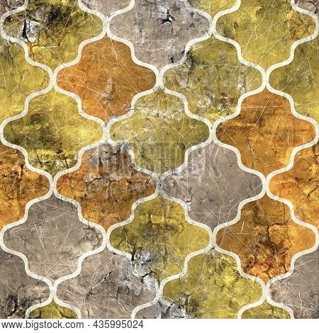 Seamless Moroccan Tile Mosaic Grungy Pattern For Surface Print