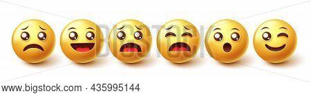 Emoji Character Vector Set. 3d Graphic Emoticon Design In Happy, Sad And Surprised Facial Expression