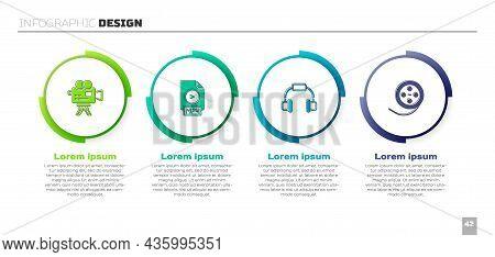 Set Retro Cinema Camera, Mp4 File Document, Headphones And Film Reel. Business Infographic Template.