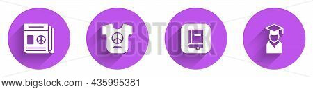 Set News, Peace, Law Book And Graduate And Graduation Cap Icon With Long Shadow. Vector