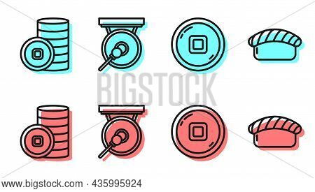 Set Line Chinese Yuan Currency, Chinese Yuan Currency, Gong And Sushi Icon. Vector