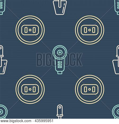 Set Line Trowel, Electrical Outlet And Angle Grinder On Seamless Pattern. Vector