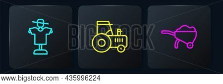 Set Line Scarecrow, Wheelbarrow With Dirt And Tractor. Black Square Button. Vector