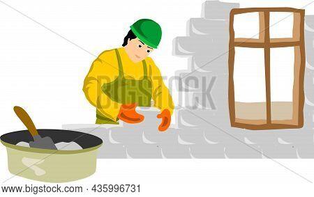 Worker Arranges Bricks Vector Illustration. Worker Arranges Bricks Vector Illustration.