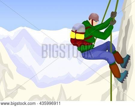 Rock Climber Climbs A Mountain Vector Illustration.