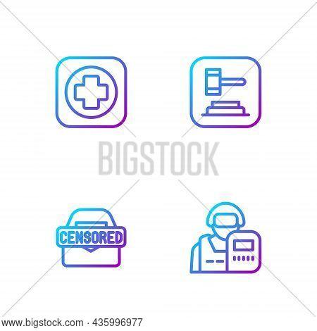 Set Line Police Officer, Censored Stamp, Hospital Signboard And Judge Gavel. Gradient Color Icons. V