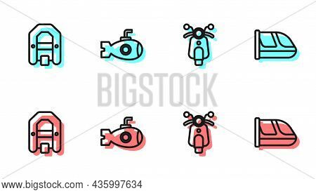 Set Line Scooter, Rafting Boat, Submarine And Train And Railway Icon. Vector