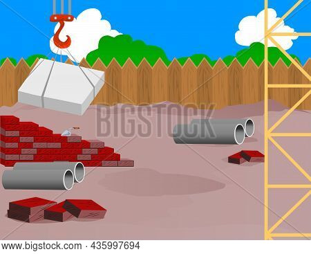 Building Construction With Jenny. Construction Cranes And Construction Pipes Vector Illustration.