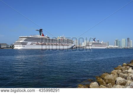 Miami, Florida - September 6, 2021 - Cruise Ships Docked At Port Miami On Clear Sunny Autumn Morning