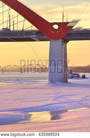 Winter Morning On The Ob. Bugrinsky Automobile And Komsomolsky Railway Bridges On The Frozen River B