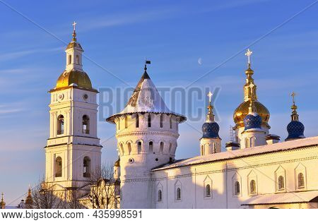 Tobolsk Kremlin In Winter. Towers And Domes Of Guest Yard, St. Sophia's Assumption Cathedral And Bel
