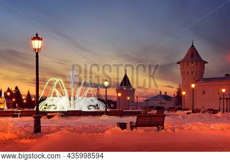Tobolsk Kremlin In Winter. Bright Dawn On The Square Near Guest Yard In The First Capital Of Siberia