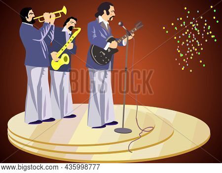 Musicians Perform On Stage Vector Illustration. Musicians Perform On Stage Vector Illustration.
