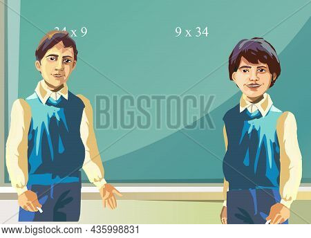 Pupils In Front Of The Blackboard In The Classroom Vector Illustration.