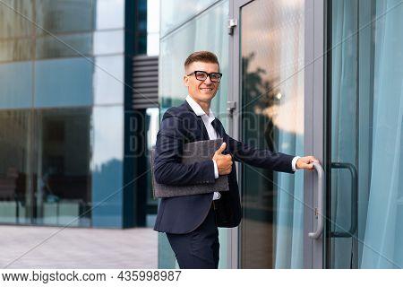 Business. Businessman Successful Man Business Person Open Door Small Business New Opportunities Cauc