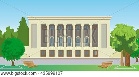 Theater Building Vector Illustration. Theater Building Vector Illustration.