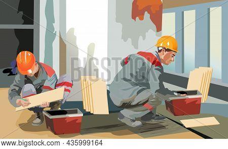 Workers Arrange Tiles Vector Illustration. Workers Arrange Tiles Vector Illustration.