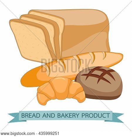 Bread And Pastry Products Made Of Rye Wheat And Whole Grain. Fresh Bakery Production Baked Croissant