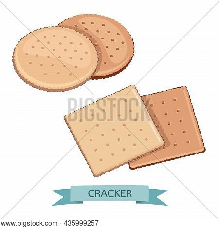 Delicious Salty Cookies Rustic. Cracker Chocolate Shape Round And Square Healthy Snack. Biscuit Cris