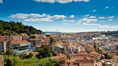Panoramic view over Baixa and Castelo de Sao Jorge from Alfama Lisbon Portugal poster