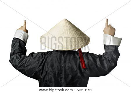 Vietnam Man With Straw Hat Pointing Up