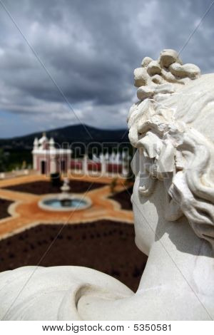 View of the park and fore part of the Palace of Estoi village located on the Algarve Portugal. poster