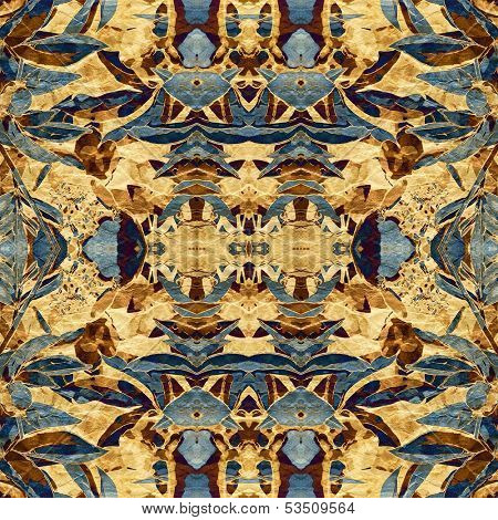 art nouveau colorful ornamental vintage pattern in blue and brown colors poster