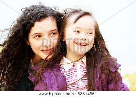 Portrait Of Beautiful Young Girls Smiling
