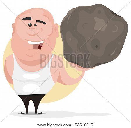 Strong Man Holding Big Boulder