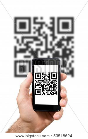 Hand Of Man Is In Possession Of Smartphones That Displays A Qr Code