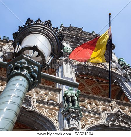 poster of Belgium flag on Grand Place in Brussels