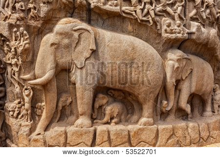 Elephants on descent of the Ganges and Arjuna's Penance ancient stone sculpture - monument at Mahabalipuram, Tamil Nadu, India poster