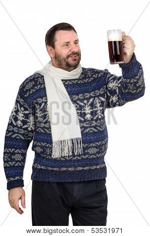 Bearded man in sweater is keeping ale pint on white background poster