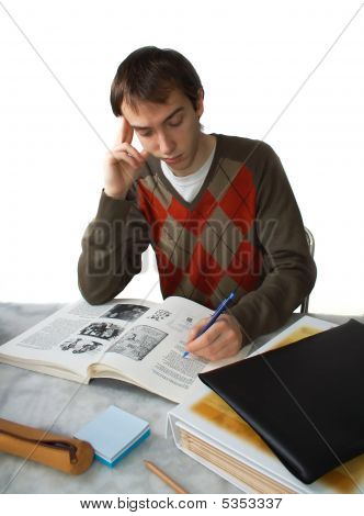 Student At Table, Holding Head